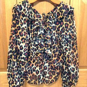TOPSHOP - Leopard Print Ruffle Blouse - Like New